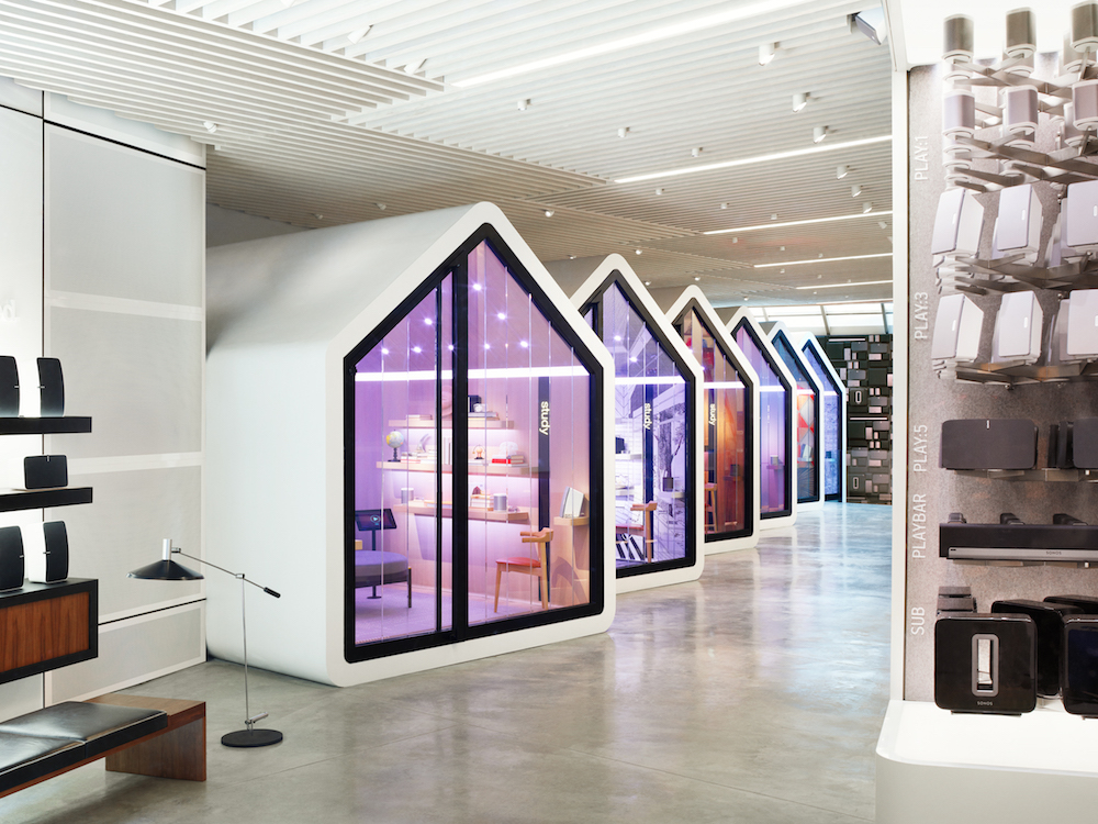 Modern white store with violet and light blue lights
