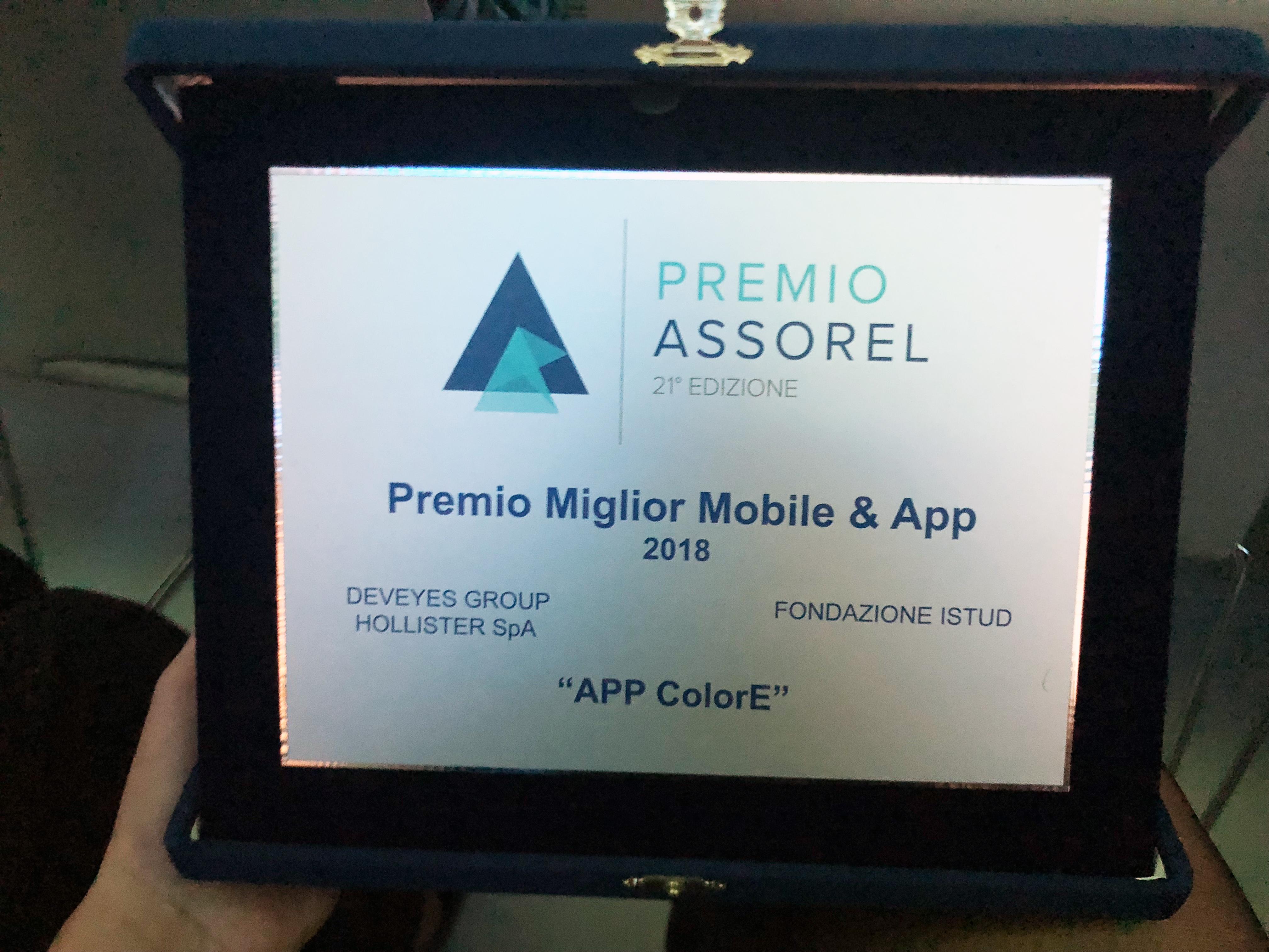 Premio ASSOREL alla APP COLORE ISTUD Hollister Deveyes